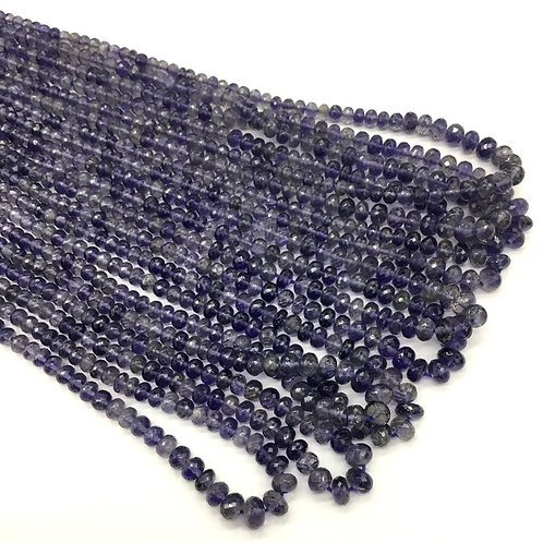 Iolite Faceted Beads extra fine faceting 16inch Natural Gemstone Necklace 46 Ct