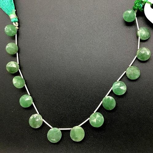 Green Quartz 8 '' Faceted Round 1 Strand Natural Gemstone Handmade 50 Ct