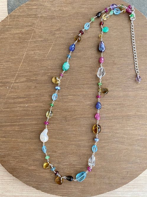Silver Jewellery 925 Sterling 35'' Silver Semi Multi Gemstone Silver Chain