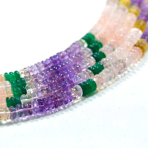Natural - 16 '' Mixed Gems Brazil Smooth Tyre 1 Strand Natural Multi Gems