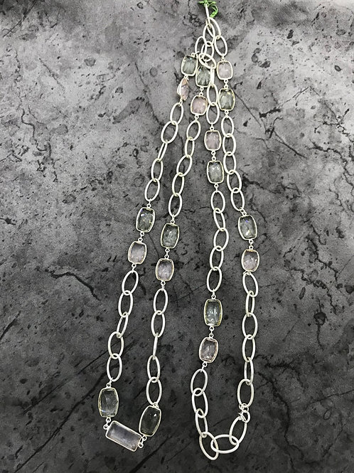 "SILVER JEWELERY CHAIN Necklace 44"" Rose Quartz Green Amethys Faceted Fancy"