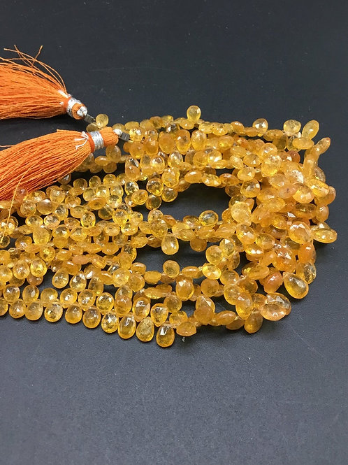 Mandarin Garnet 8 '' Faceted Pear Natural Gemstone Necklace Top Quality Shape