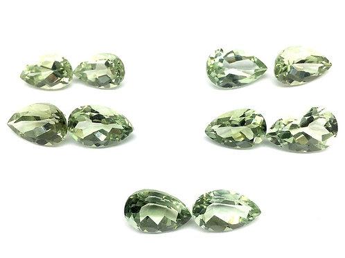 Green Amethyst Pear Shape Cut Stone 10 PCS  Loose Gemstone Handmade Natural