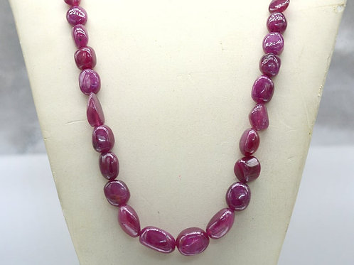 Natural Ruby 17 '' Plain Tumble 459.80 ct 1 Strand Gemstone Handmade