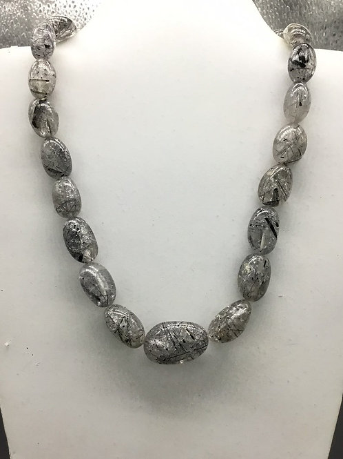 Black Rutile Smooth Tumbles jewellery 1strand 390carats