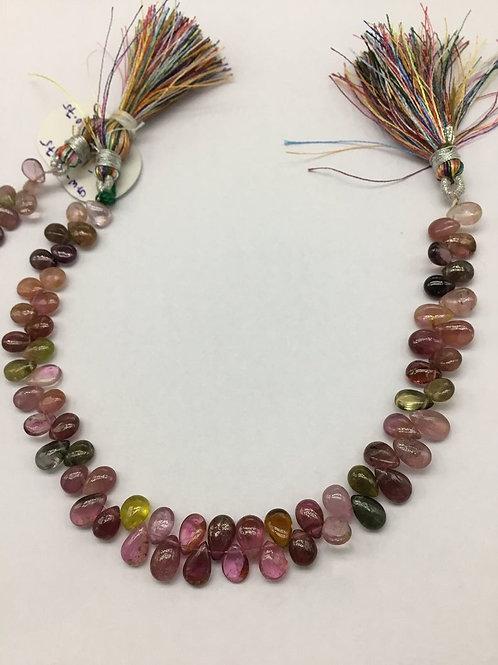 Tourmaline Multi Plain Pear / Almond Natural Gemstone Necklace 8'' Smooth