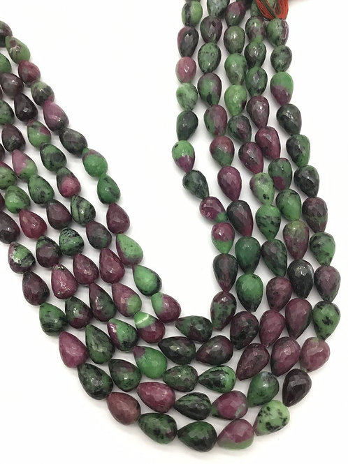 Ruby Zoisite Faceted Drops Straight Drilled 1strand 294carats