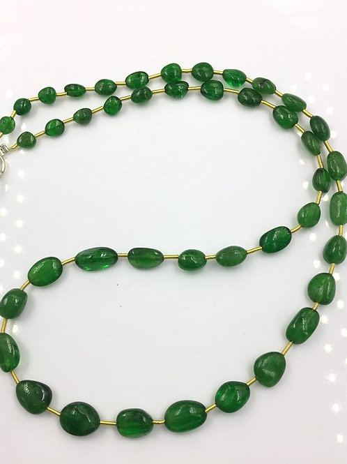 Tsavorite Ovals Tumbles Beads 1strand 68.70 carats size- 5x5 to 5x11 MM 43 Piece