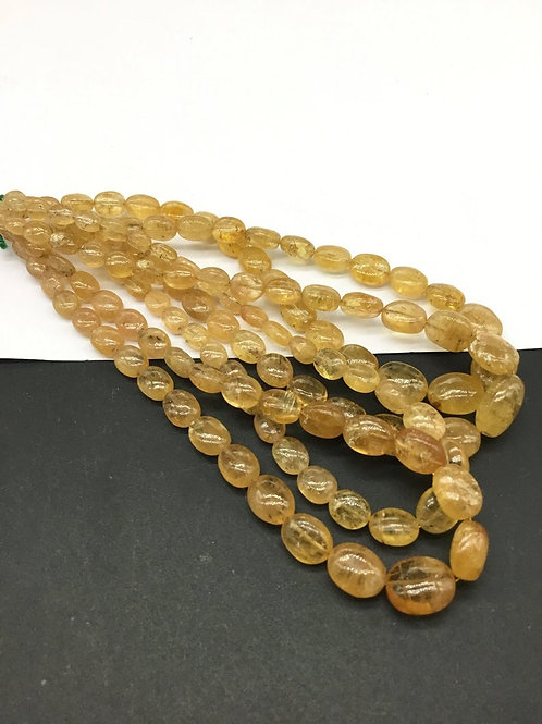 Imperial Topaz Ovals / Beads Shape AA Quality Natural Gemstone Necklace 10 ''