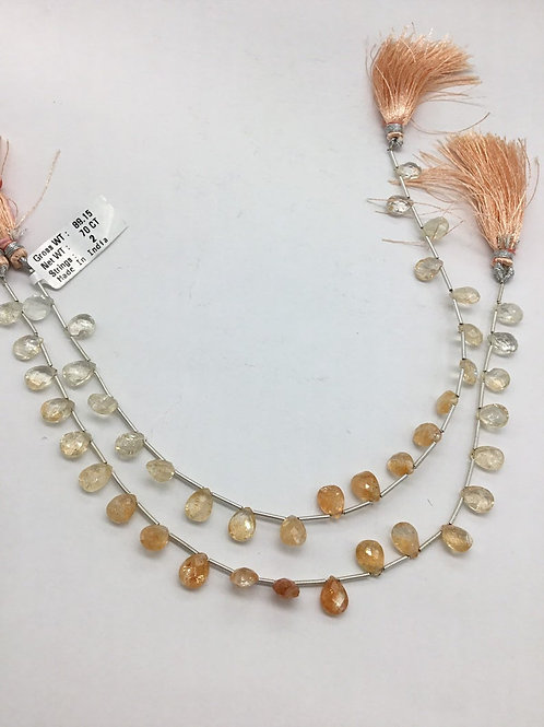 Sunstone Faceted Pear 8inch 1strand 35carats size-7x9MM