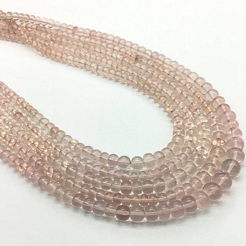 Rose Quartz Smooth Beads Top Quality Natural Gemstone Necklace 1 Strand