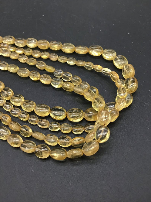 Imperial Topaz Ovals / Beads Shape A Quality Natural Gemstone Necklace 10 ''