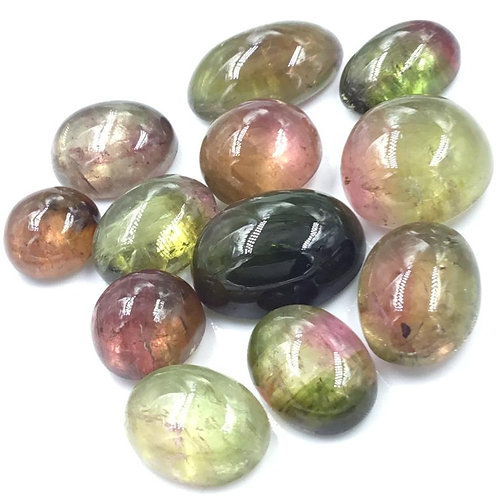 Bi color tourmaline cabochon tourmaline pink and green gemstone
