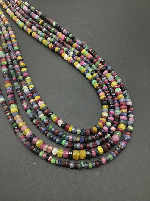 Mixed Gems Disco Beads RUBY EMERALD SAPPHIRE - 16'' Brazil Faceted Beads