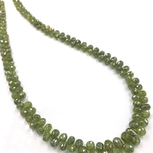 Green Diamond Drops Beads 12 Inches 3.5x2.5 To 4x3.5 mm Approx 47.50 Carats
