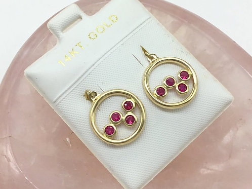 Genuine Ruby (HEATED) Earrings in 14KT. GOLD 4.40carat 3MMsize Gold Jewelry