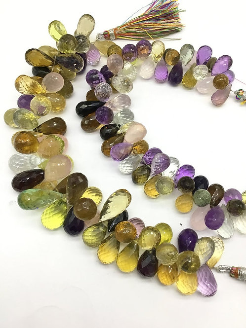 Multiple Mixed Gems Precious 8 '' Natural Faceted Drops gemstone 450-650 Ct