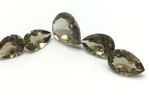 Smoky Quartz Faceted Pear Shape Natural Gemstone Quartz Necklace set, Pendant