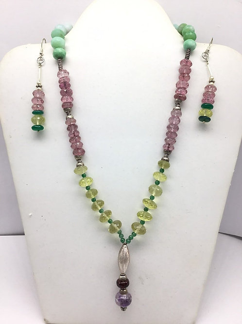 Mixed Gems Gemstone Beaded Necklace with earrings and sterling silver