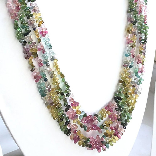 Multi Tourmaline Mixed Shaded faceted Drops Necklace Natural Gemstone