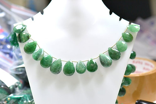 Green Aventurine  - 8'' Faceted Pear 1 Strand Gemstone Jewelry