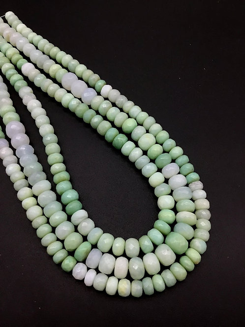 peru Blue Opal 16 '' Faceted beads 7 to 10 MM Natural Gemstone Necklace 155 Ct