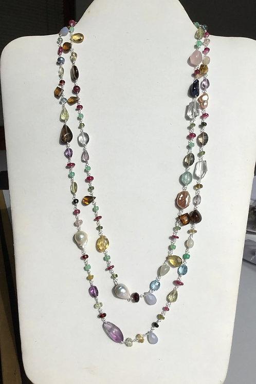 Silver Jewellery 925 Sterling Silver 27.5'' Semi Multi Gemstone pink Amethyst