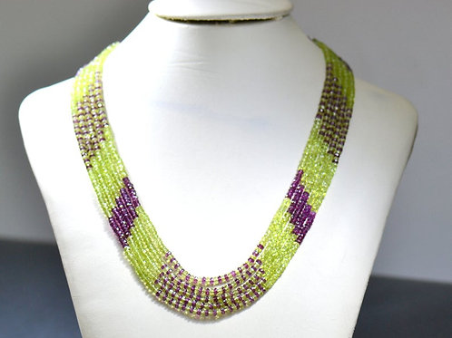 Semi Precious Multi Africa 18 '' 5 Strands Necklace Natural Gemstone Faceted