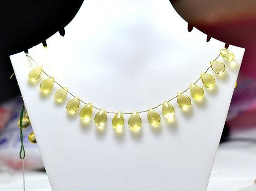 Lemon Quartz - 8'' Brazil Smooth Drops 1 Strand Gemstone  Jewelry Beads Handmade