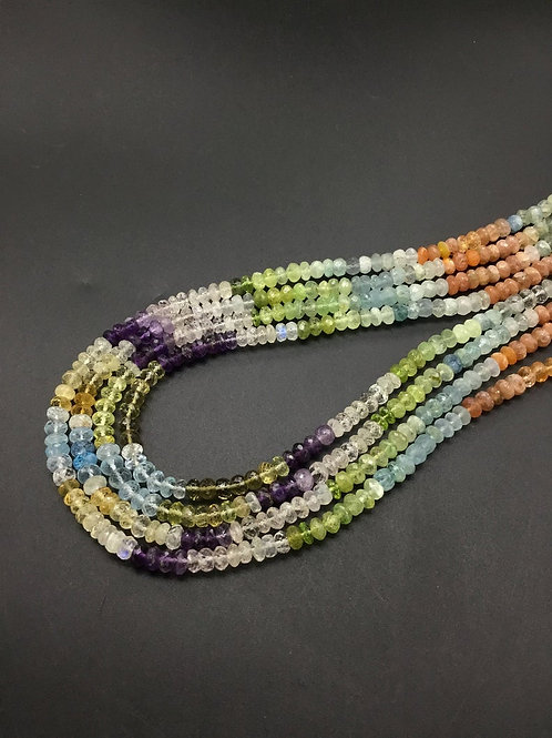 Multiple Mixed Gems Faceted Beads Amethyst, Aqua, Quartz, Topaz
