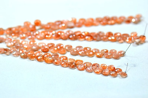 8'' Sunstone Africa Faceted Drops 1 Strand Gemstone  Jewelry Beads