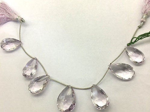 Pink Amethyst 8 '' faceted Pear / Almond Natural Gemstone Necklace 188.60 Ct