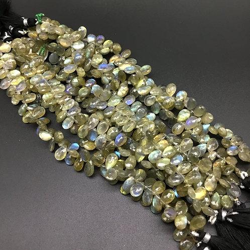 Labradorite 8 '' beautiful natural Faceted Drops 1 strand. Phenomenal Gemstone