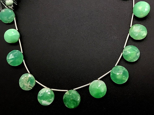 Chrysoprase 8 '' Faceted Round shape 1 Strand Natural Gemstone Bead Necklace