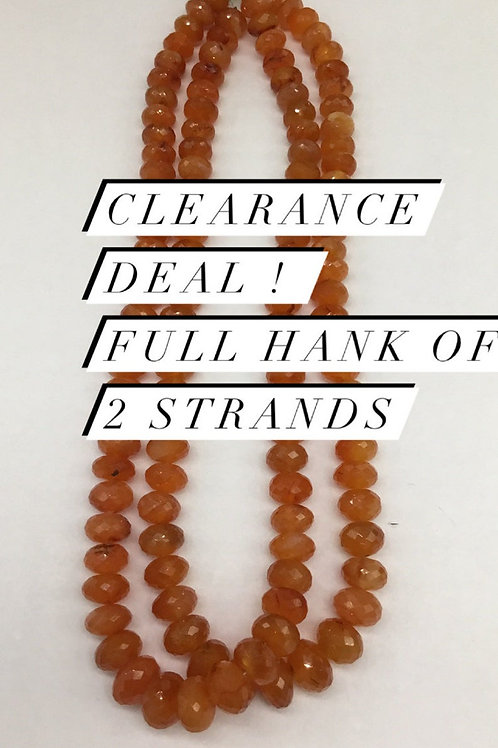 Closeout Sale price Carnelian Faceted Beads 2 strands full hank wholesale