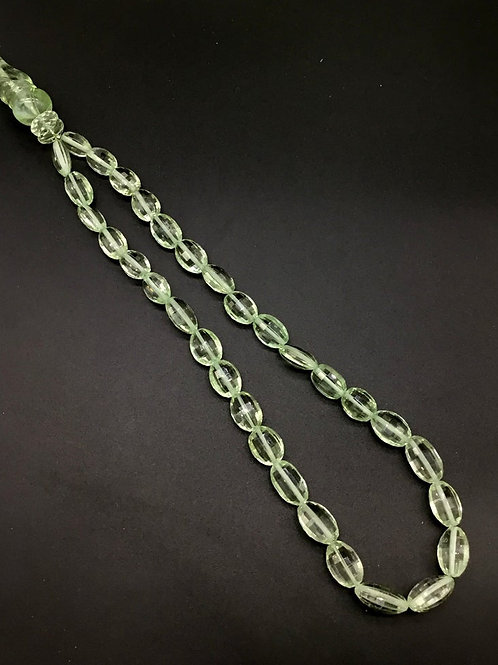Green Amethyst 20 '' Checker Cut With fancy Carving Necklace Quality 296 Ct
