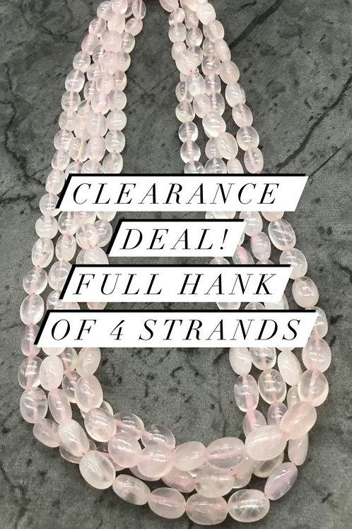 Closeout Sale price Rose Quartz Plain Mani 4 strands full hank wholesale