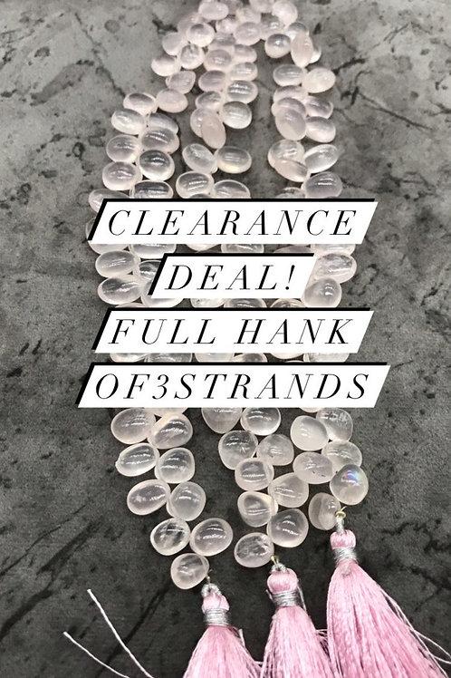 Closeout Sale Rose Quartz Plain Fancy Small 3 strands full hank wholesale