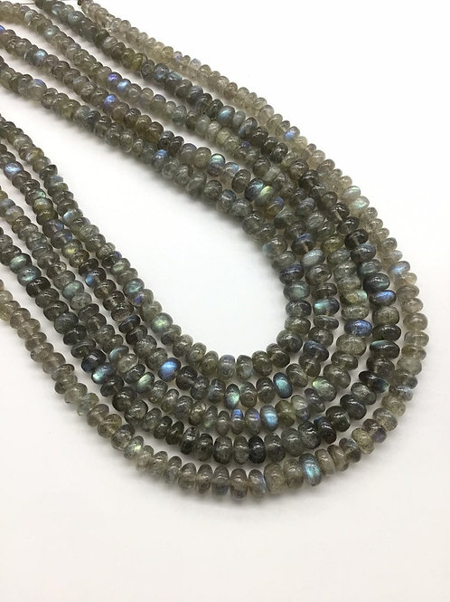 Labradorite 16 '' Smooth Beads 1 strand 131 carats size- 5 x 8MM NATURAL