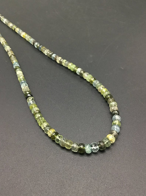 Multiple Mixed Gems Natural Gemstone Necklace Faceted beads 16'' gems necklace