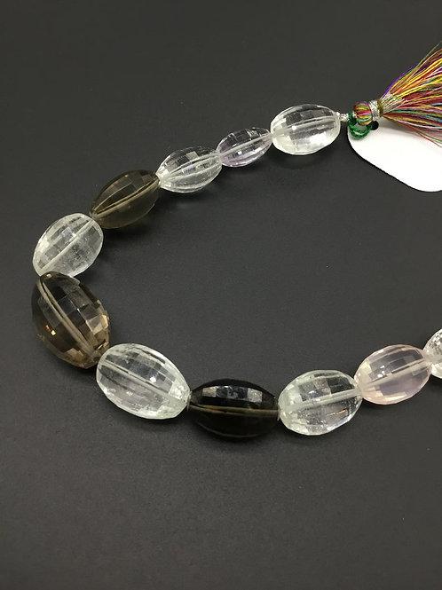 Mixed Gems Gems Gemstone 8 '' Checker Cut Mani 287.55 Ct Beads Necklace Gemstone