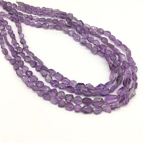 Amethyst Faceted Tumbles Gemstone Jewellery Necklace 16inch length 98carats