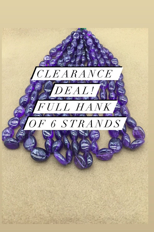Closeout Sale price Amethyst Plain Tumble 6 strands full hank wholesale closeout