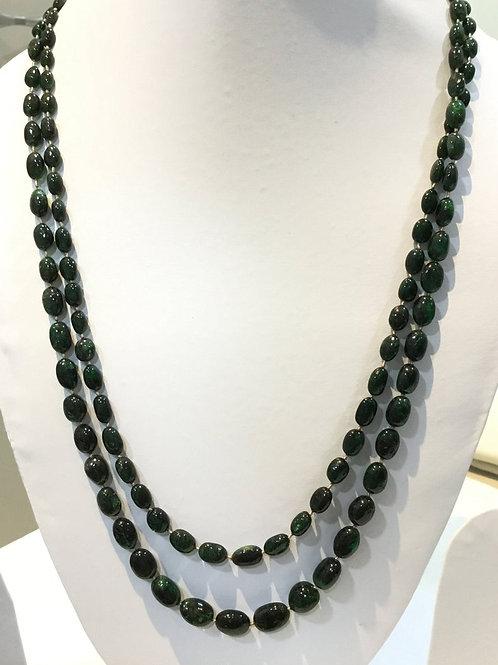 Natural Emerald Necklace Deep Green Brazilian Emeralds Tumble Beads 2 Strand