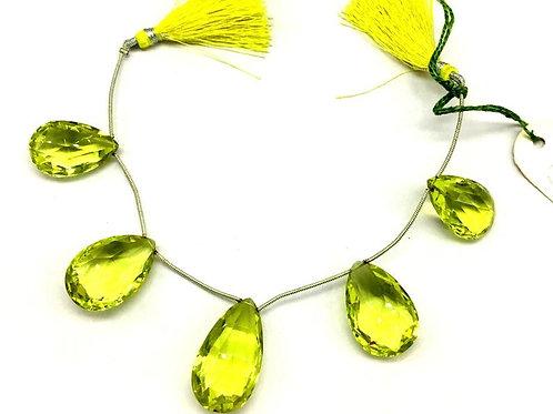 Lemon Quartz Almond Faceted Gemstone Natural Gemstone 8'' Necklace Top Color