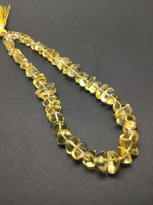 Citrine Plain Chips Shape Natural Gemstone Necklace 10'' Citrine Gemstone