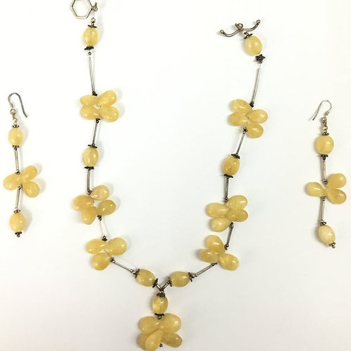Yellow Quartz Antique Silver Jewelry Set (with earrings) Gemstone Necklace