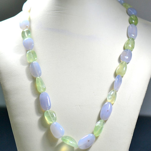 Chalcedony + Prehnite 18 '' Plain Tumble 1 Strand Natural Gemstone Necklace