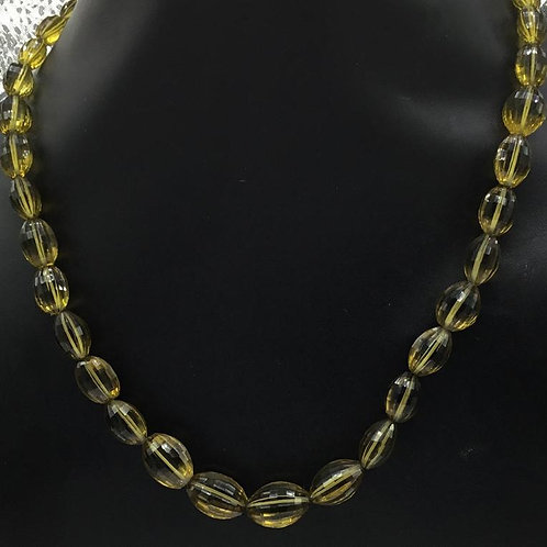 Beer Quartz Faceted ovals Natural Gemstone Necklace Size 9x7 To 17x14 mm