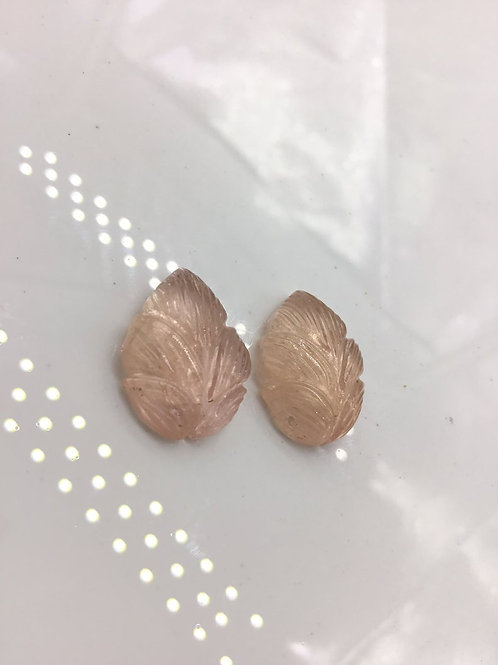 Morganite Gems Carved Pair Natural  Gemstone